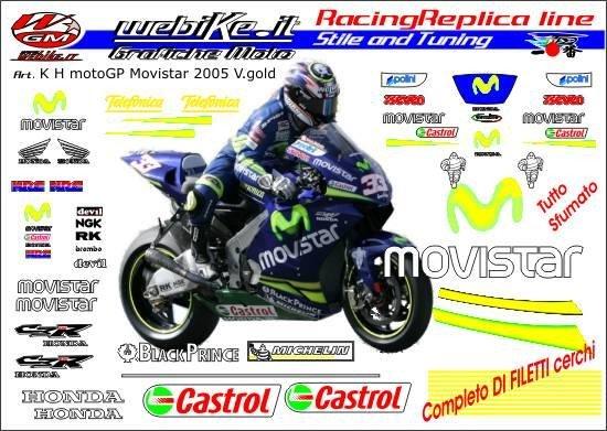 Kit adesivi Race replica Honda movistar MotoGP 05 V. gold