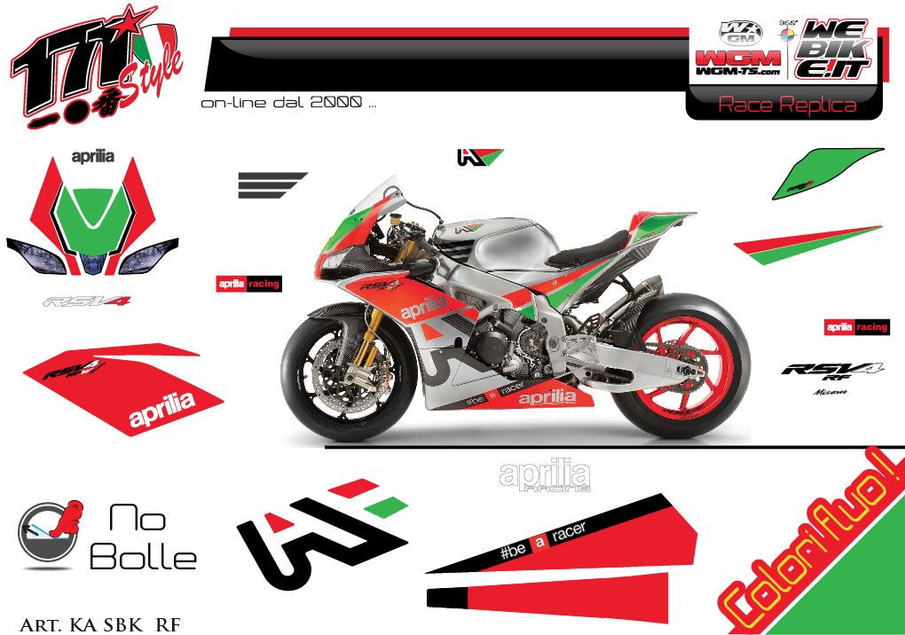 Kit adesivi Race replica Aprilia SBK RSV4-RF 2016