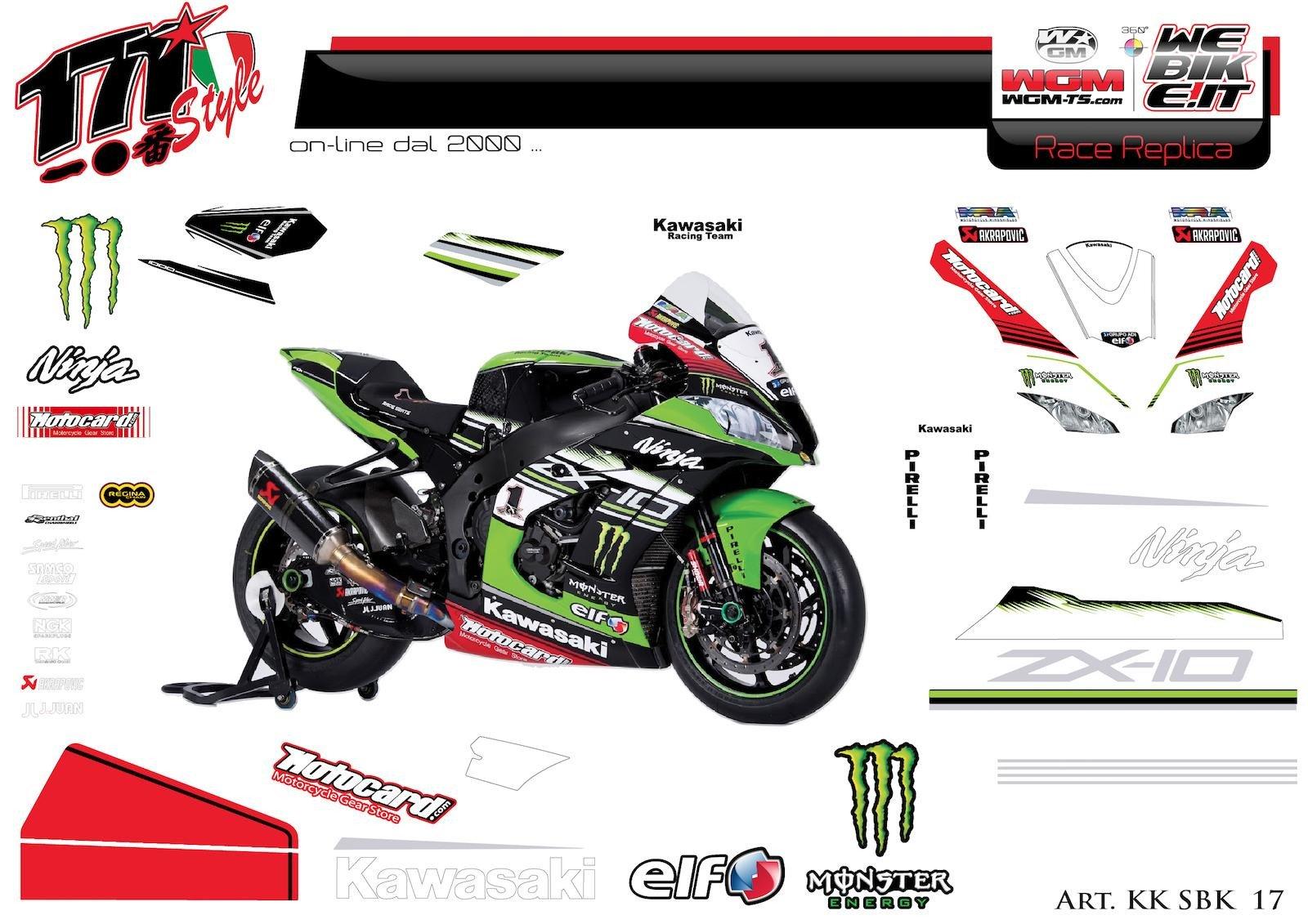 Kit adesivi Race replica adesivi Race replica Kawasaki SBK 2017